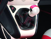 Gear Lever Knob Pearl White with red leather insert
