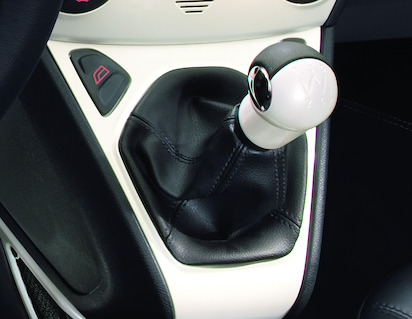 Gear Lever Knob Pearl White with black leather insert
