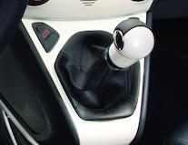 Punho da alavanca da caixa de velocidades Pearl White com inserção em pele preta