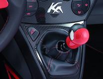 Punho da alavanca da caixa de velocidades Sunrise (vermelho) com inserção em pele preta