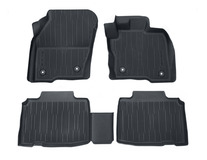 Rubber Floor Mats tray style with raised edges, front and rear, black