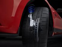 Sada nastavitelných tlumičů Coilover Z nerezové oceli s pružinami opatřenými práškovým lakem v modrém odstínu Ford Performance
