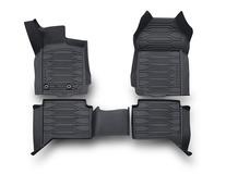 Gummifussmatten in Wannenform mit hochstehenden Kanten, vorne und hinten, schwarz