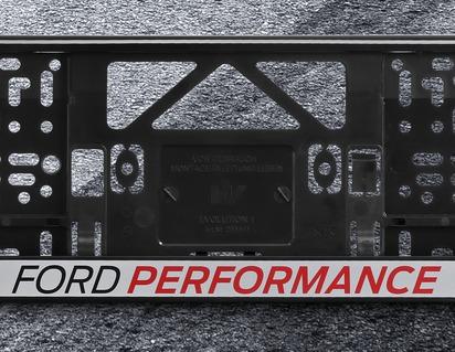 Supporto per la targa argento, con logo Ford Performance