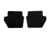 Gulvmåtter, premium velour bag, sort med røde syninger
