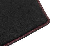 Gulvmåtter, premium velour for, sort med røde syninger