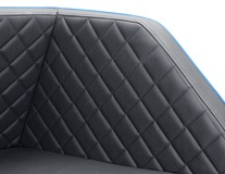 padsforall®* Cestovní pelíšek pro domácí mazlíčky Černá polyuretanová kůže s modrými zesílenými okraji, velikost: XS