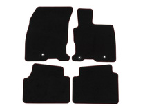 Premium Velours Floor Mats front and rear, black with double red stitching