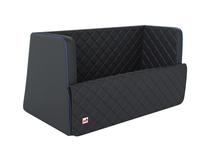 padsforall®* Cestovní pelíšek pro domácí mazlíčky Černá polyuretanová kůže s modrými zesílenými okraji, velikost: S