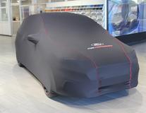 Ochranná plachta Premium černá s červenou linkou, bílým oválem Ford a logem Ford Performance