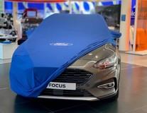 Ochranná plachta Premium modrá s bílým oválem Ford