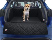 padsforall®* Rejsemåtte til kæledyr sort PU-læder med blå kant, størrelse: XS