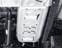 Ochranný kryt motoru pro palivovou nádrž, z hliníku