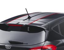 Striping voor dak, matzwart/glimmend rood