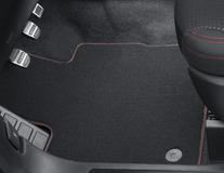 Premium velúrové rohože predné a zadné, čierne, s červenou niťou