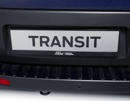 """Ford License Plate Holder black, with Ford oval and white """"Bring On Tomorrow"""" lettering"""
