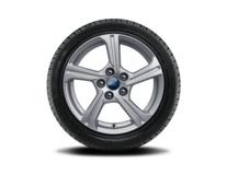"""Vinter-komplethjul, alufælg 16"""" 5-eget design, sølvfarvet"""