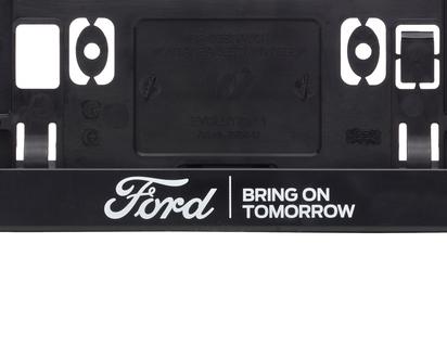 """Ford rendszámtábla keret fekete, kék Ford ovállal, és fehér """"BRING ON TOMORROW"""" felirattal"""