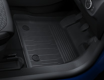 Rubber Floor Mats tray style with raised edges, front, black