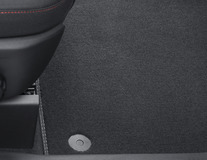 Premium Velours Floor Mats front and rear, black with double grey stitching