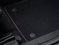 Velour Floor Mats front, black with red stitching